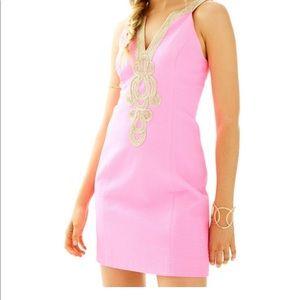 Lilly Pulitzer Pink Gold Emery Shift Dress Size 10